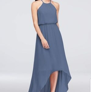 Dresses & Skirts - Steel blue, size 4 high-low chiffon halter dress